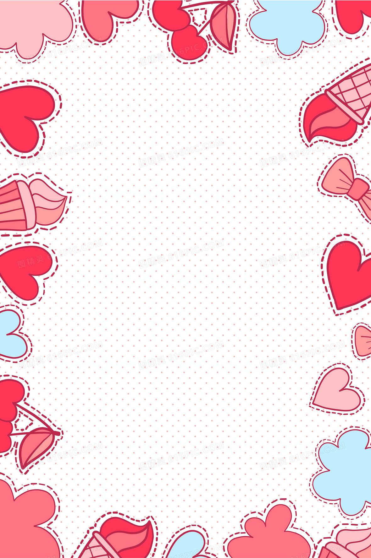 矢量卡通手绘心形蝴蝶结边框背景素材