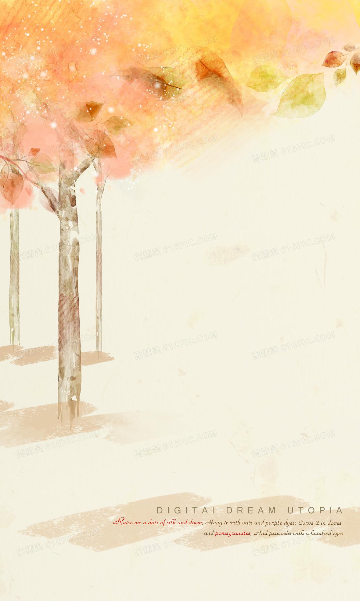 浪漫手绘秋天背景
