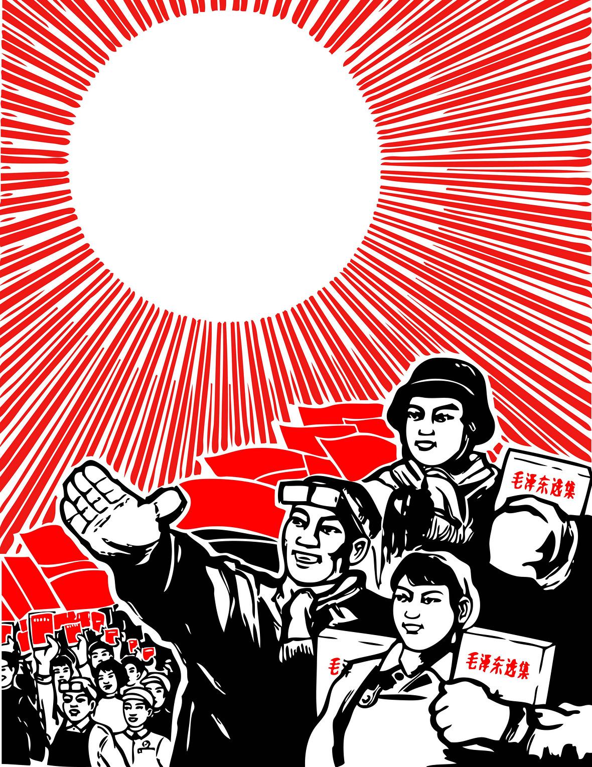 矢量红色革命手绘背景素材