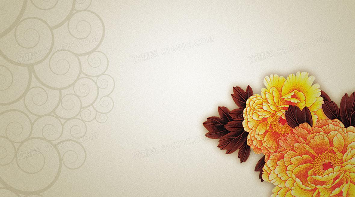 黄色中国风名片设计背景素材