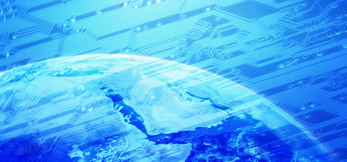 蓝色科技地球电路背景
