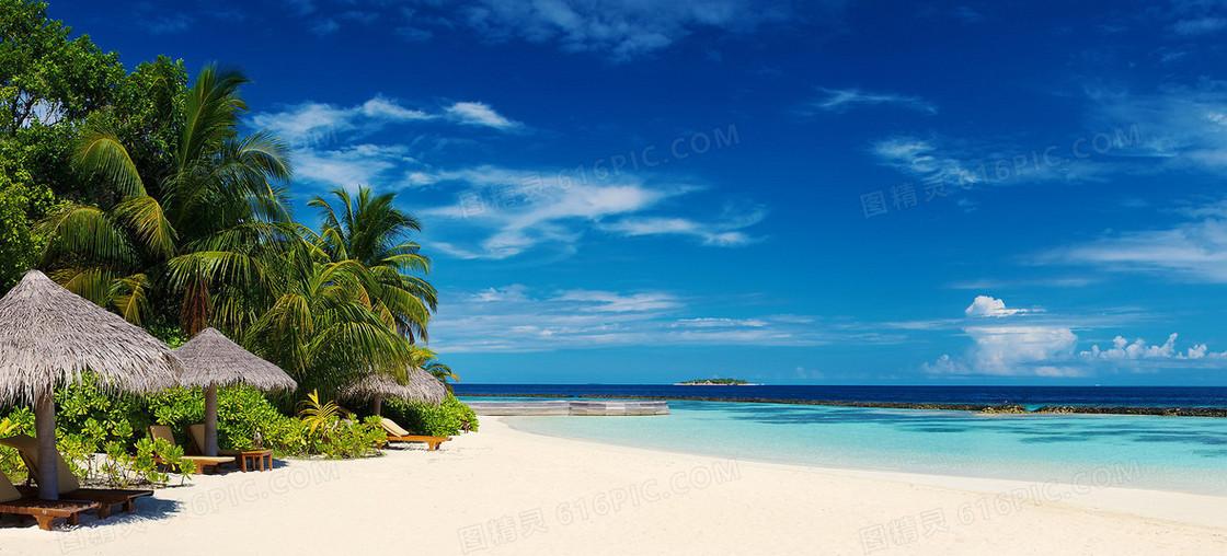 唯美大海沙滩摄影风景海报背景图