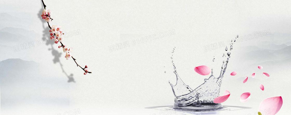 古风中国风桃花水纹背景