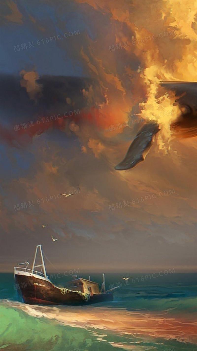 海边风景油画h5背景
