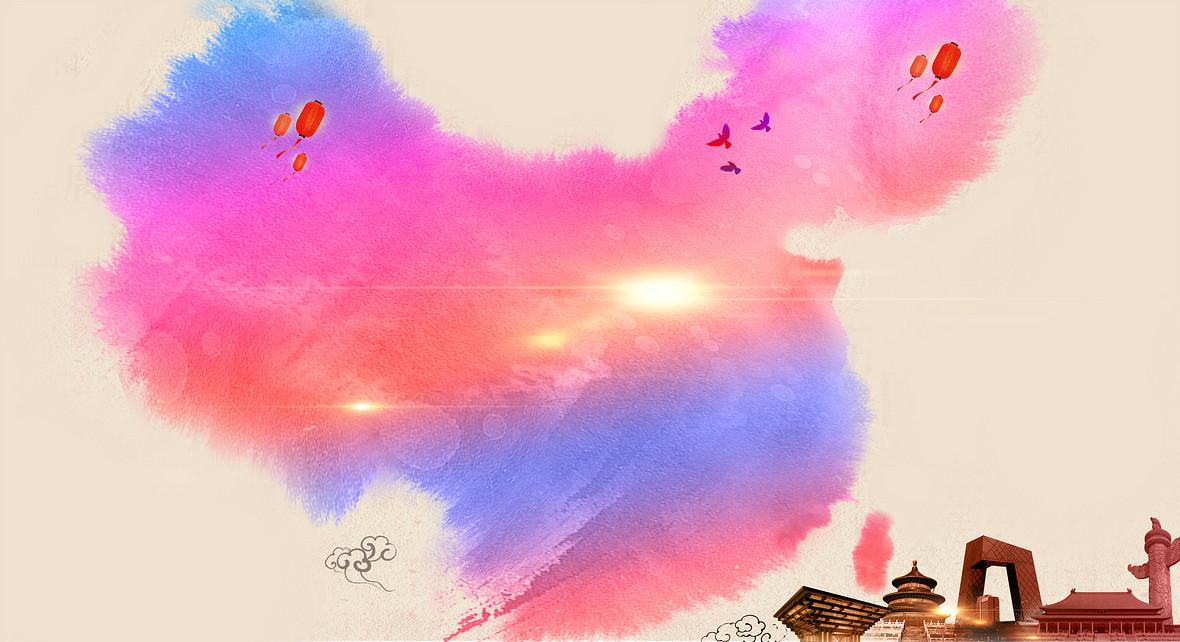 手绘简约中国地图中国梦海报背景素材