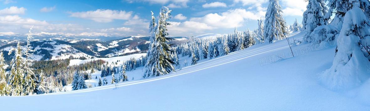 冬天雪景banner创意设计背景图片下载_1920x576像素