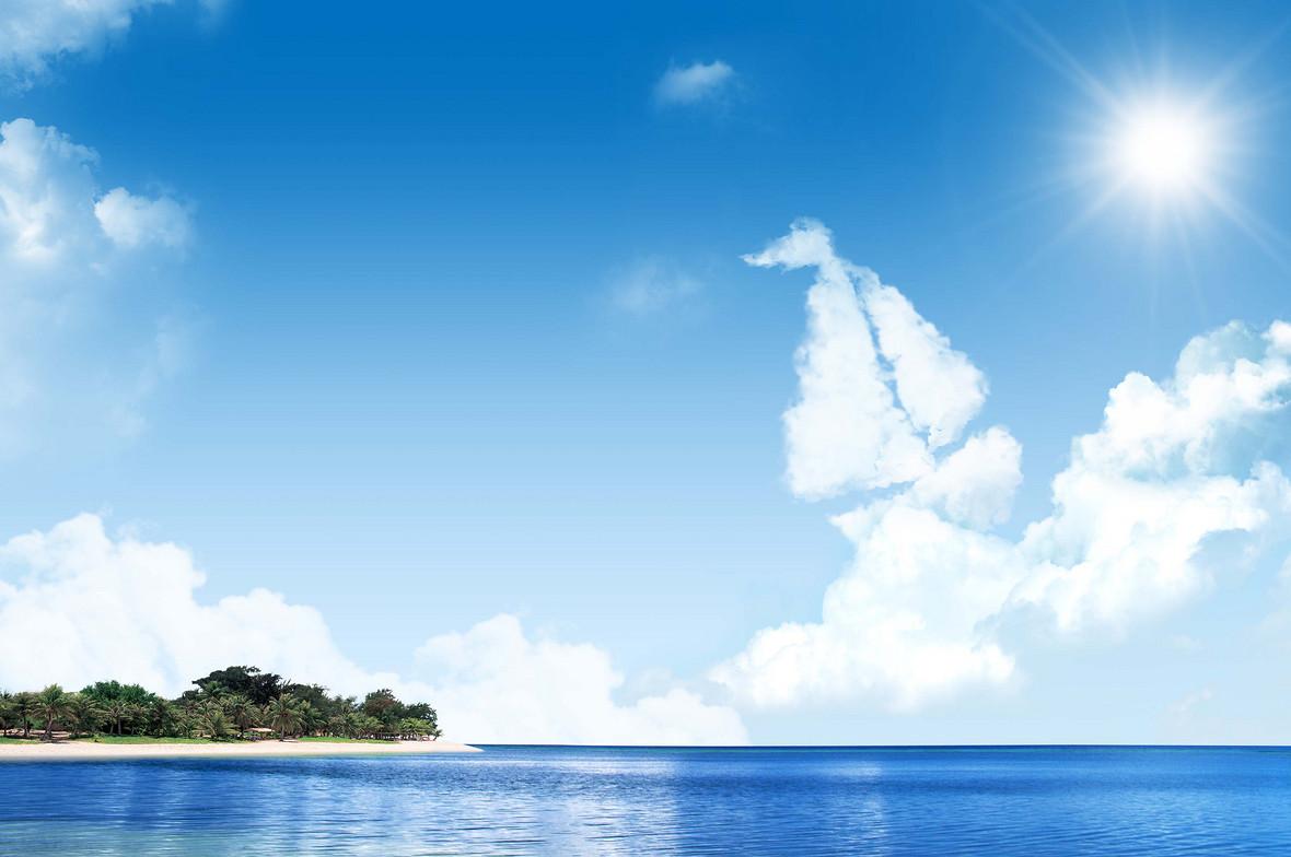 蓝色海天一色风景海报背景模板