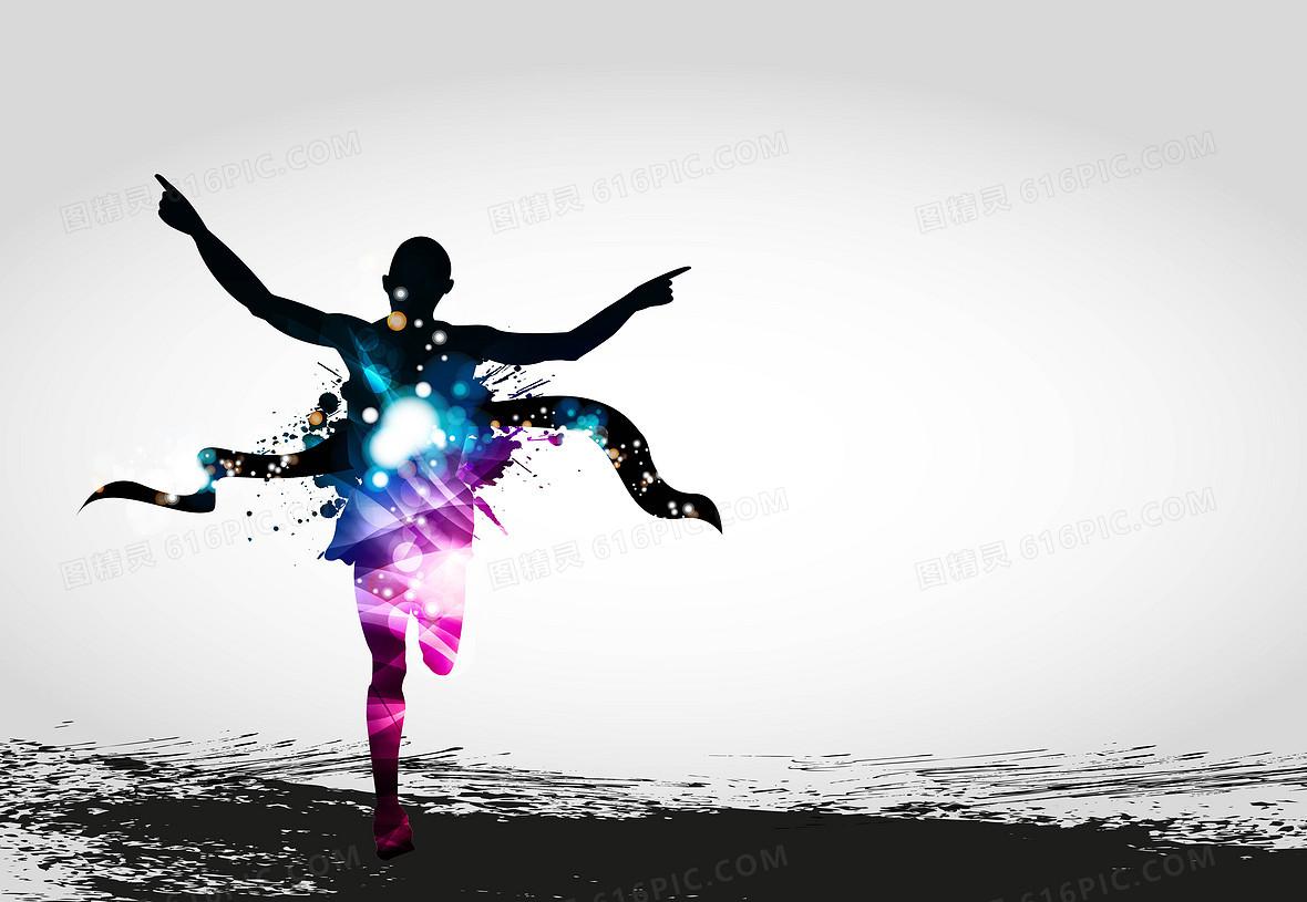 矢量炫彩运动跑步冲刺背景素材