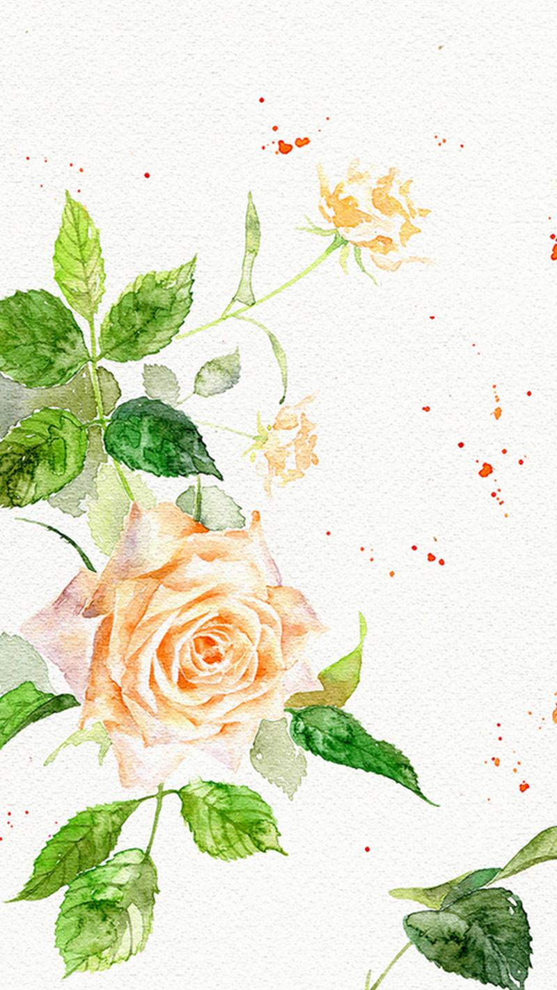 小清新手绘玫瑰h5背景素材