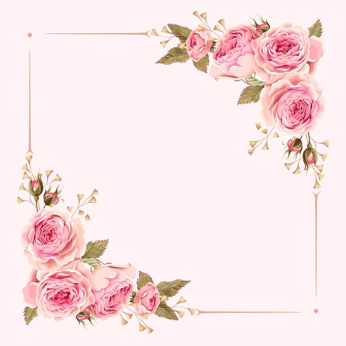 矢量粉色水彩手绘花朵边框婚庆背景