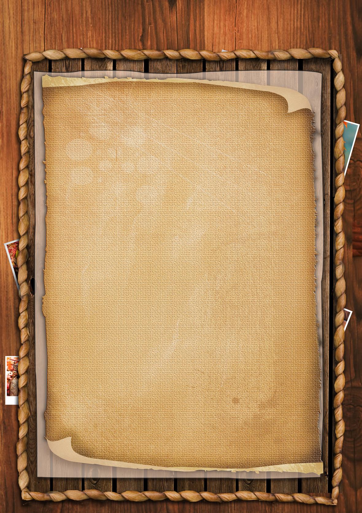 四角复古麻绳木板木纹边框背景