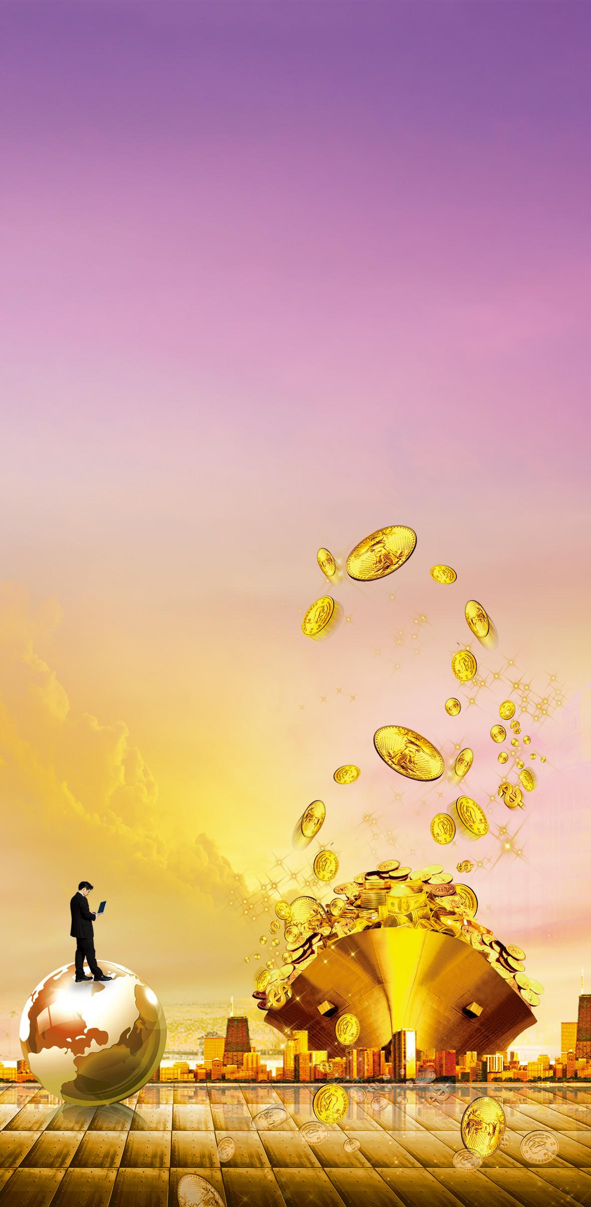 金融商业金币海报背景素材
