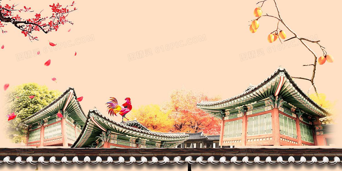 中国风水彩古建筑春节背景素材