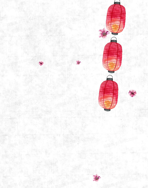 矢量古风手绘灯笼节日背景素材