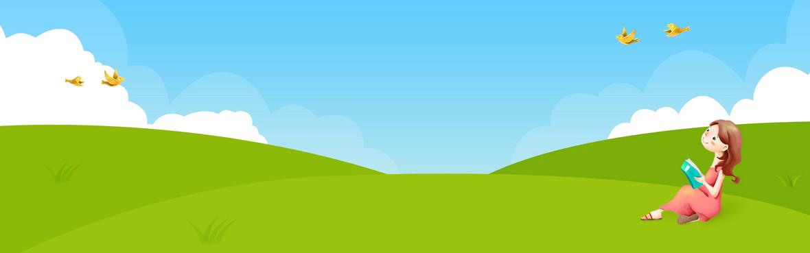 春天手绘卡通绿色电商海报背景