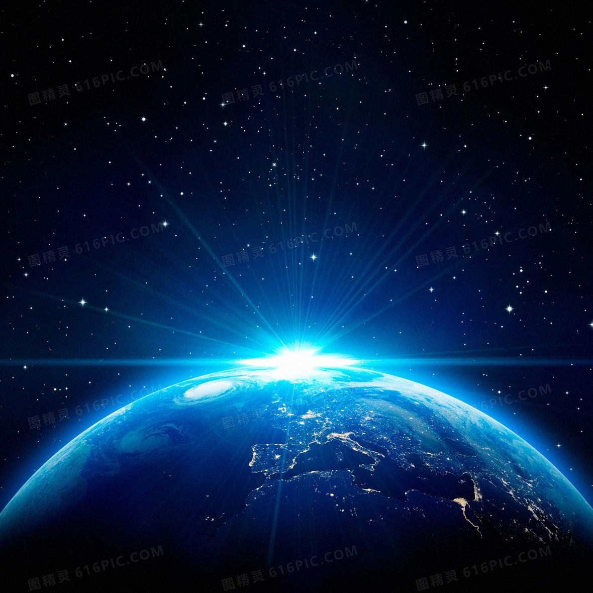 蓝色地球星空背景素材