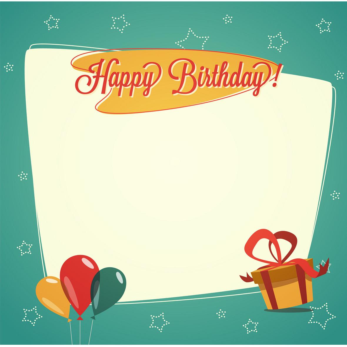 手绘生日卡片礼盒绿色背景