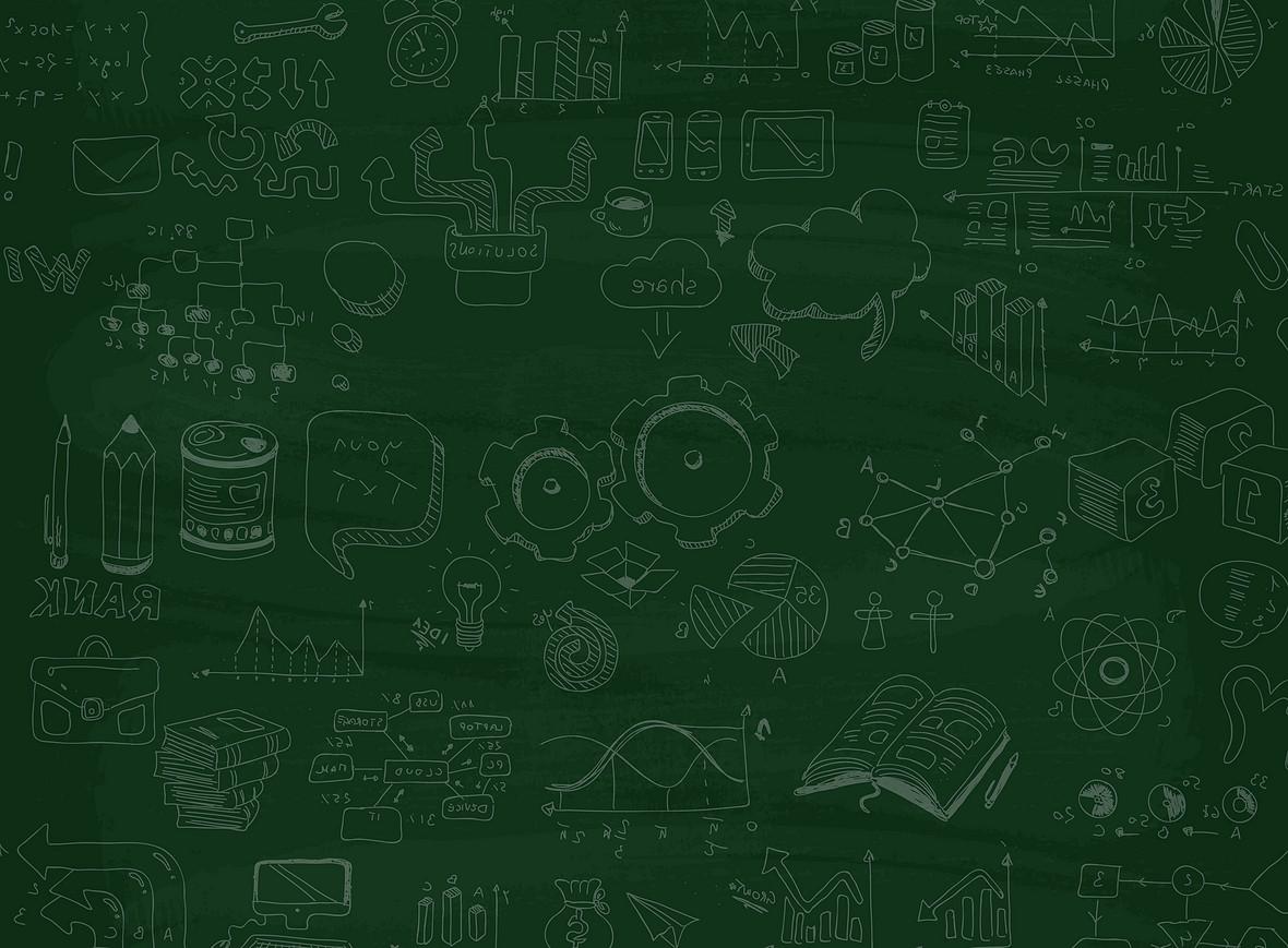 矢量绿色黑板手绘卡通学习教育背景