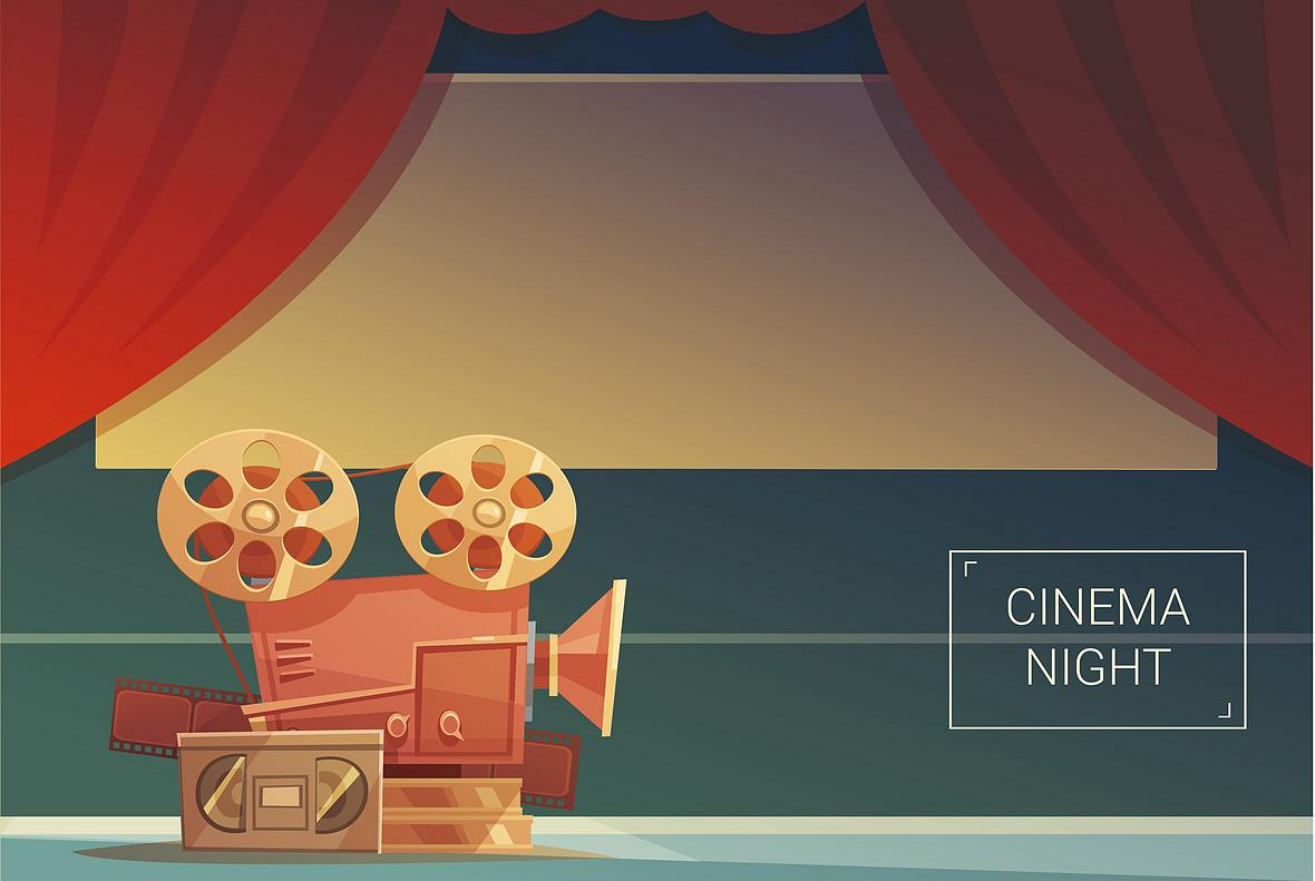 扁平化电影放映院海报背景素材