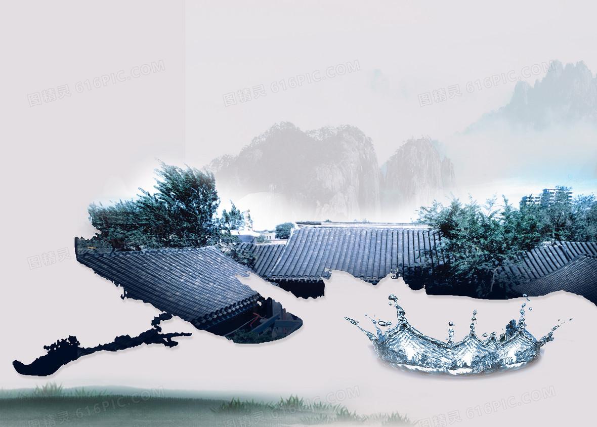 中式水墨江南山水画海报背景素材