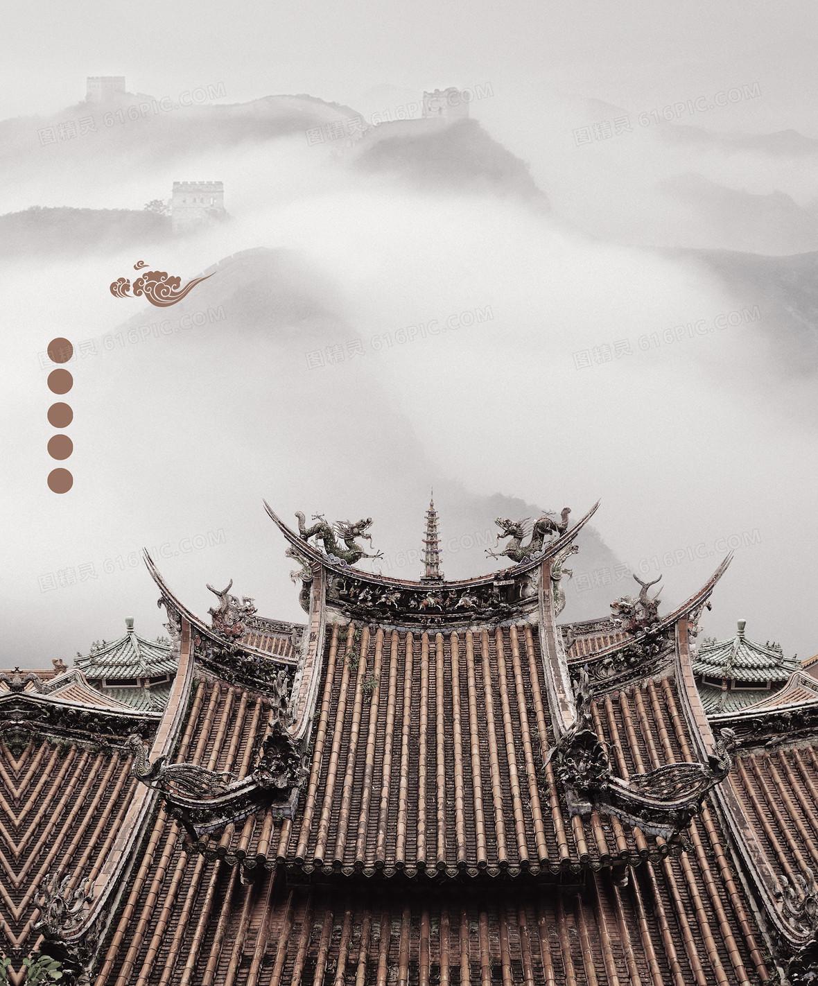 中国风古韵古建筑背景素材