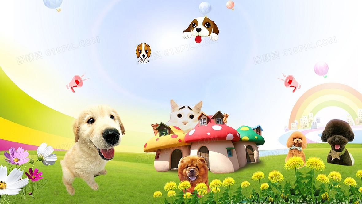 卡通可爱宠物乐园海报背景素材