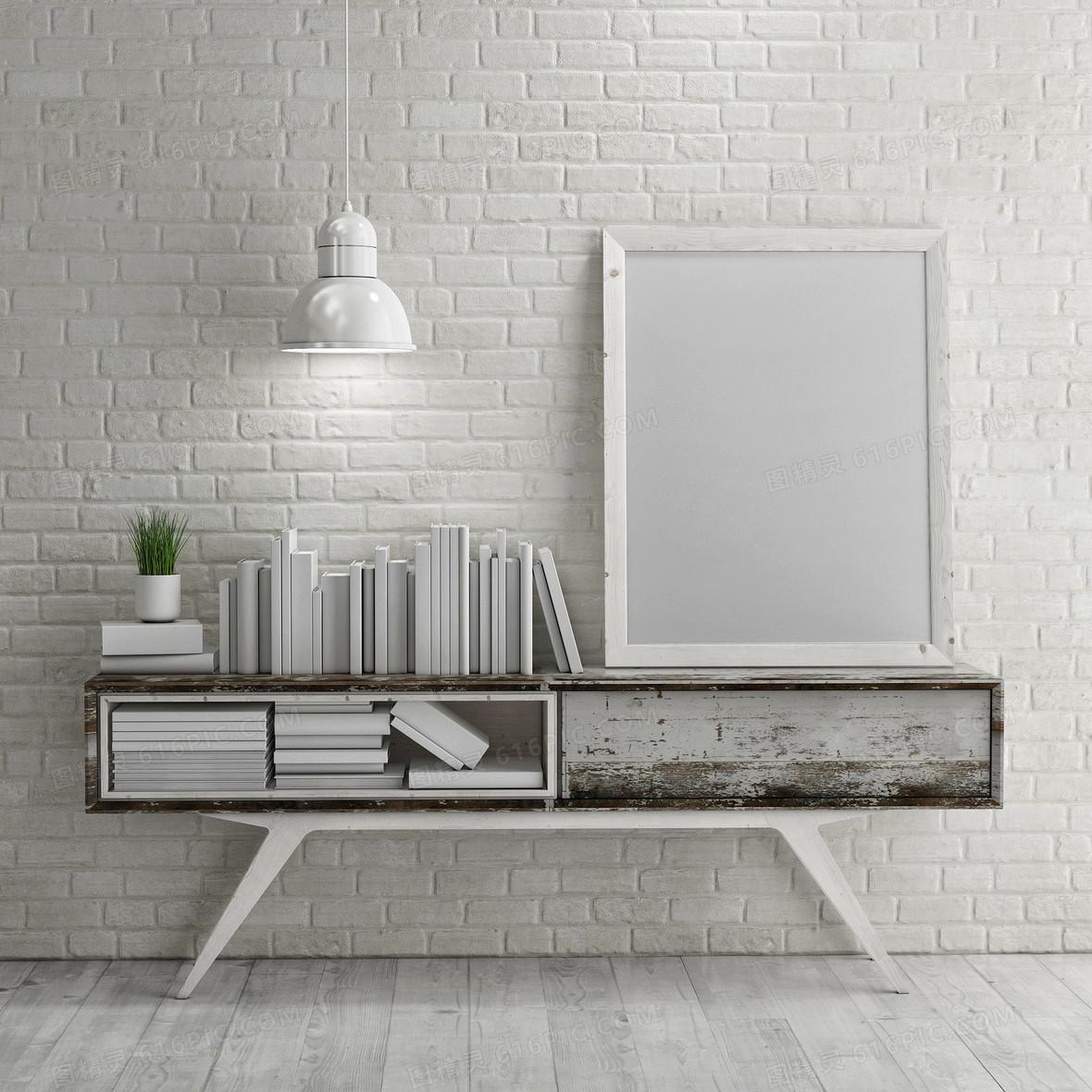 室内家装白色简洁风格书桌背景素材