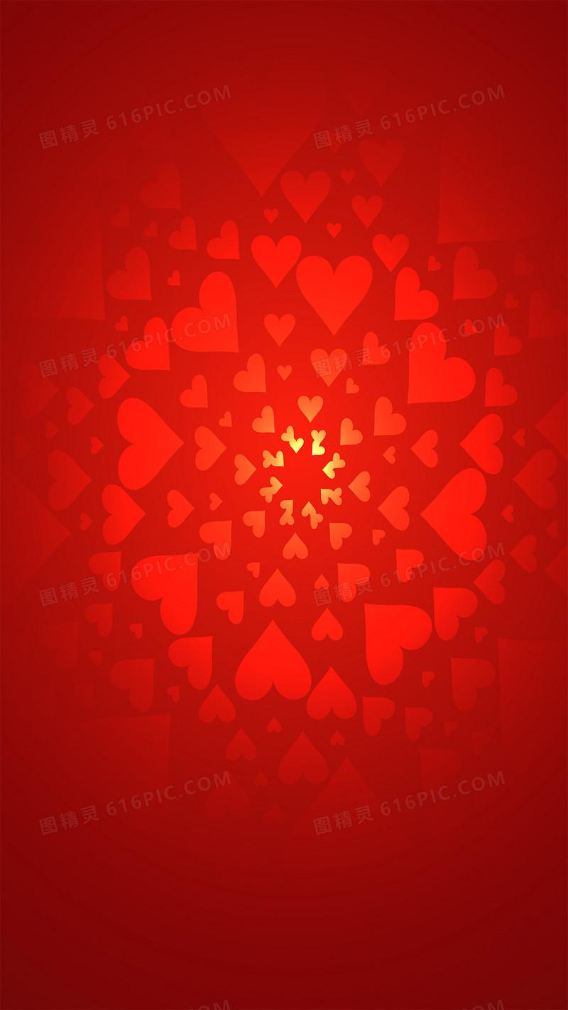 浪漫情人节红色心形图案h5背景素材