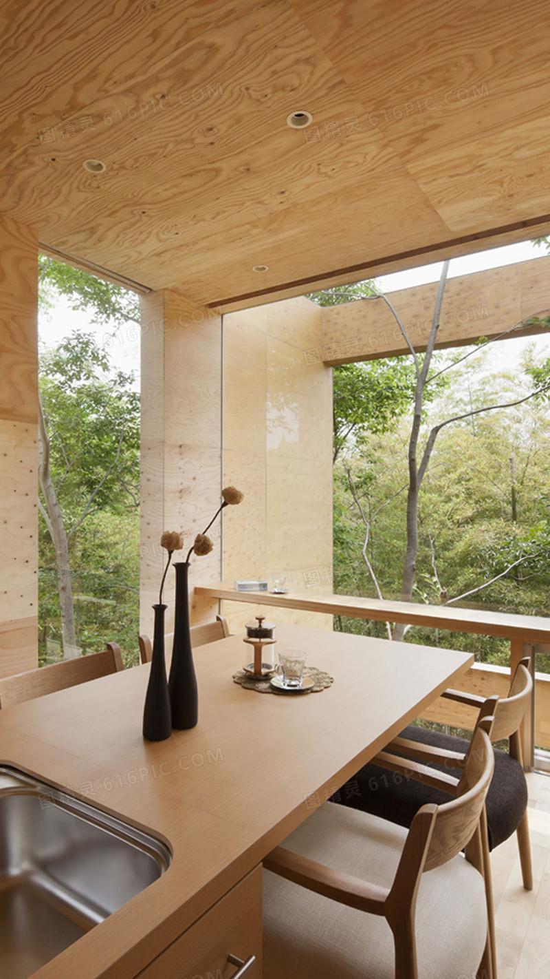 木质家具阳台h5背景素材