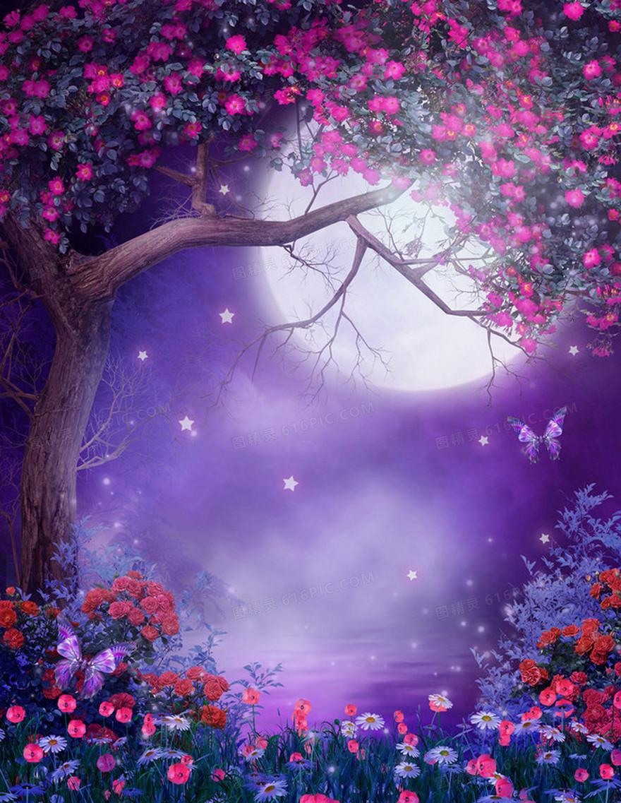 唯美紫色月光花藤海报背景素材