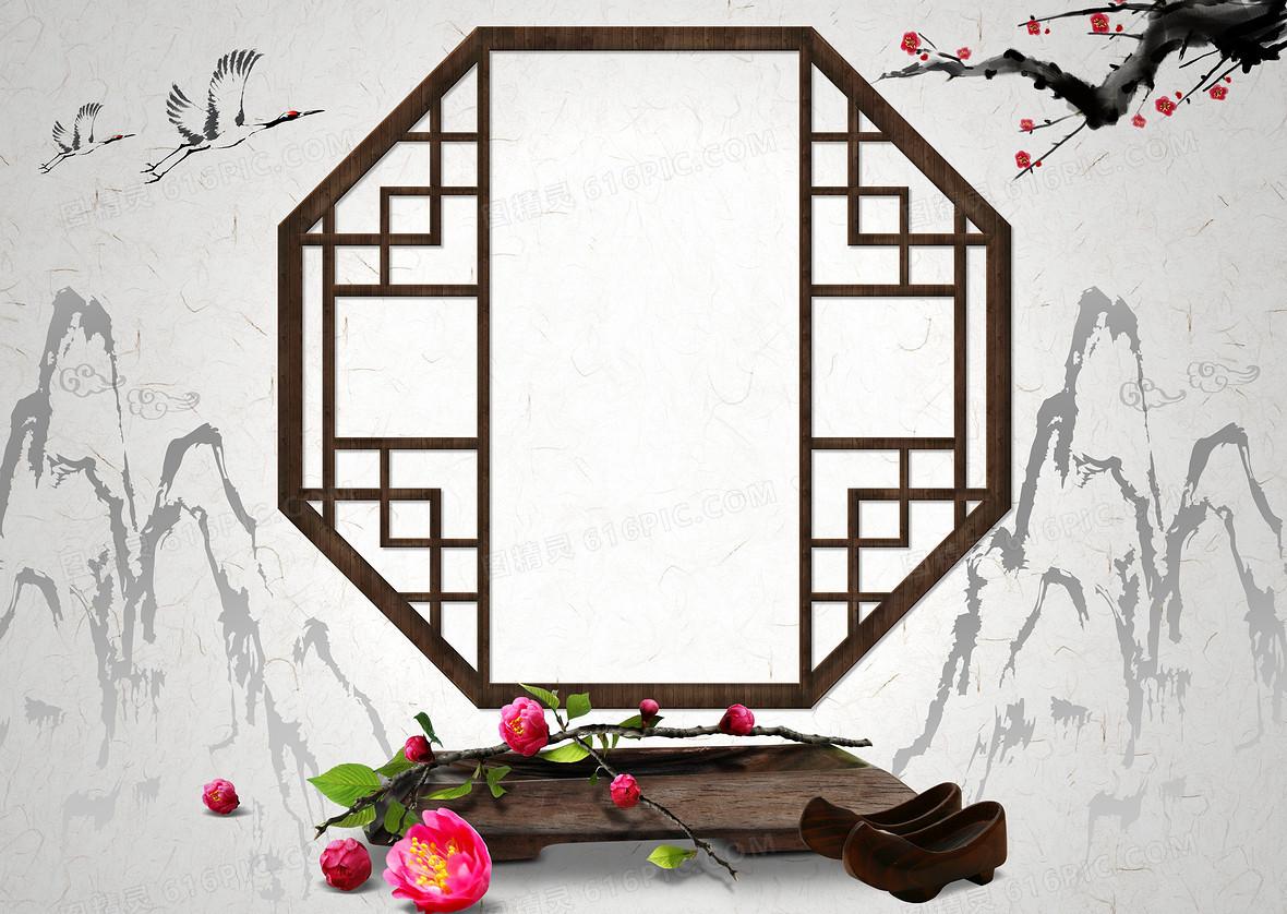 中国风复古传统屏风艺术背景素材