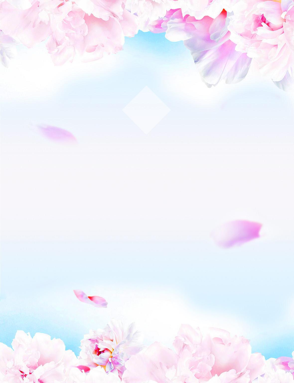 花卉唯美浪漫约惠女人节海报背景素材