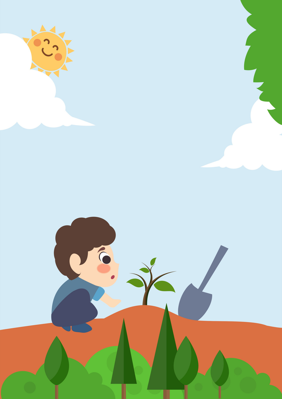 儿童手绘植树节公益宣传背景素材