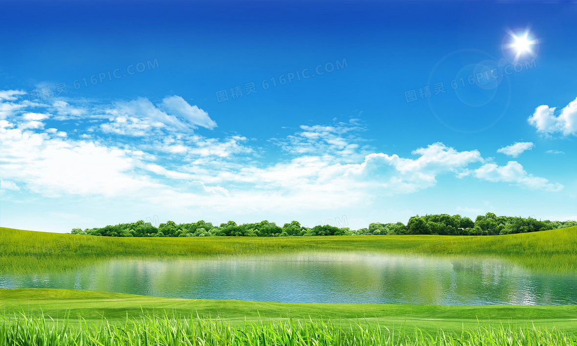 小清新草原湖泊绿色背景素材