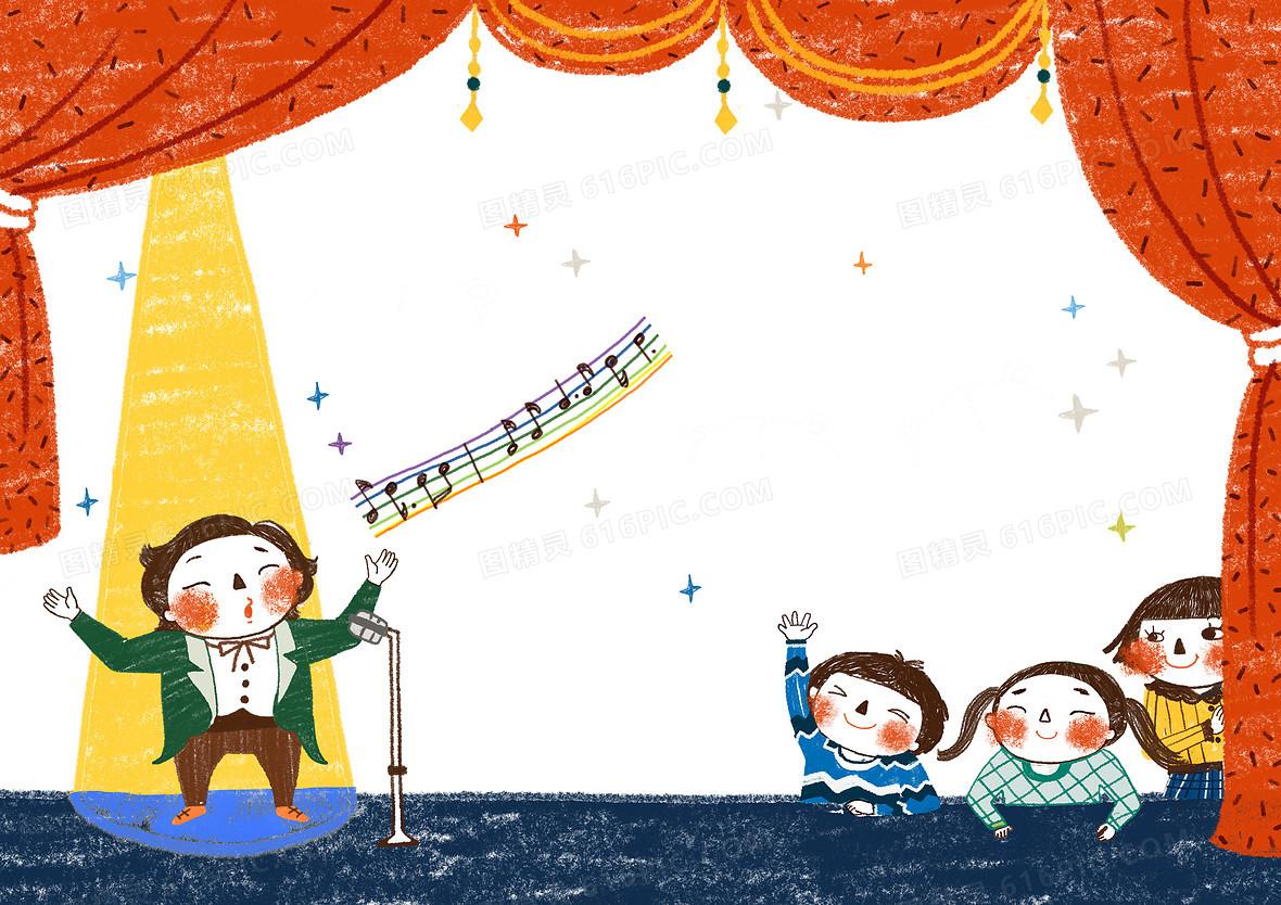 可爱童趣手绘音乐会背景素材