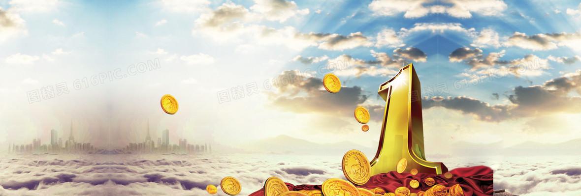 金融理财现代金色海报背景
