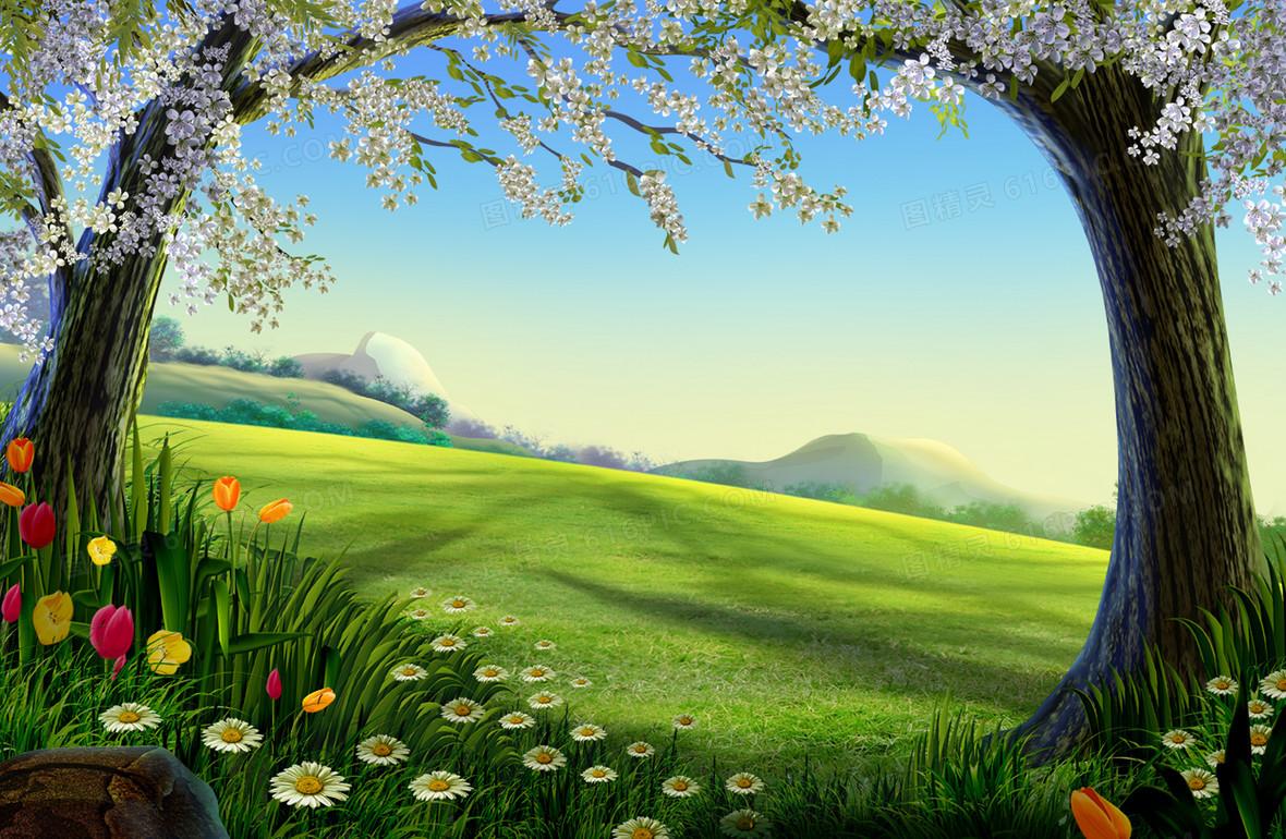 动漫场景绿色森林背景素材