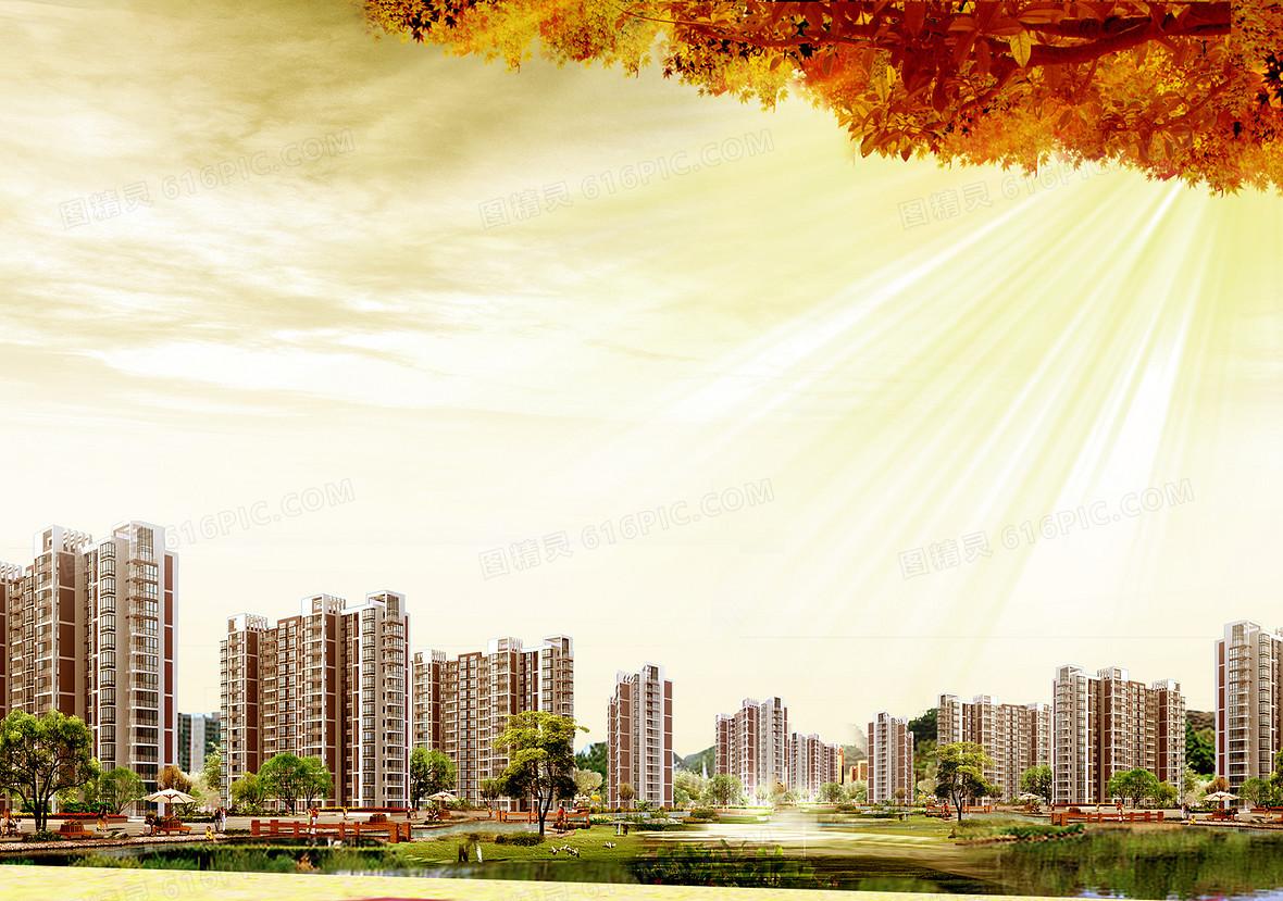 房地产活动喷绘海报背景素材