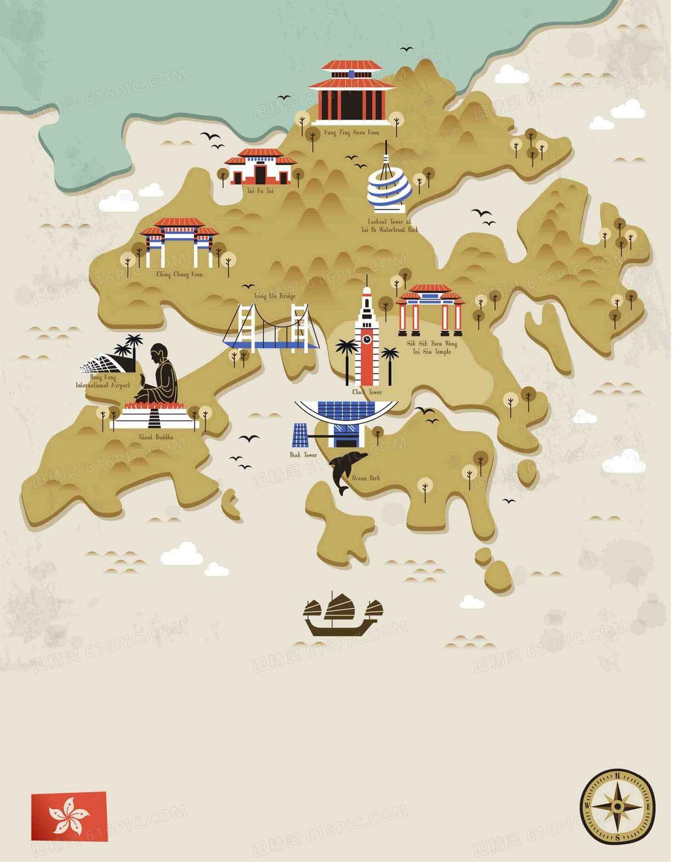 手绘矢量紫荆花旅游香港景点地图海报背景图片