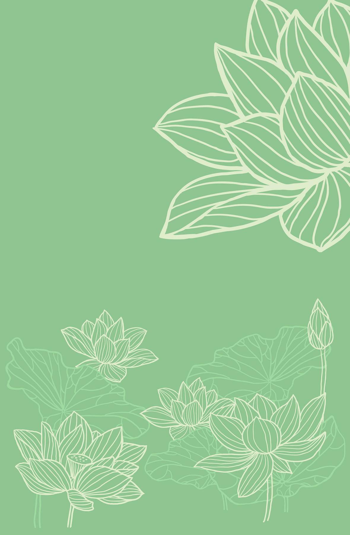 夏日手绘花朵小清新绿色背景