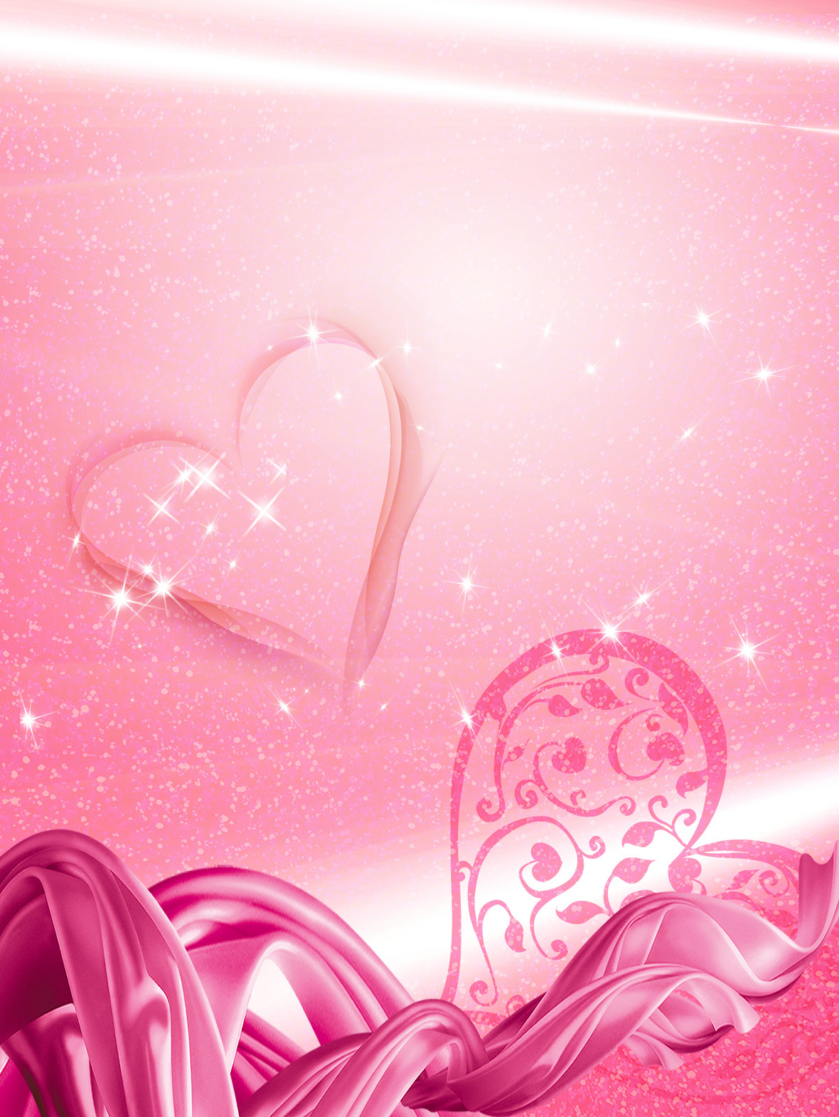 三八妇女节粉色爱心海报背景