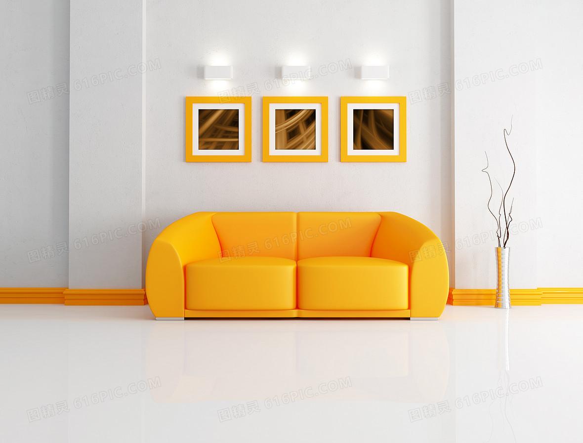 黄色简约清新环保室内装修背景素材