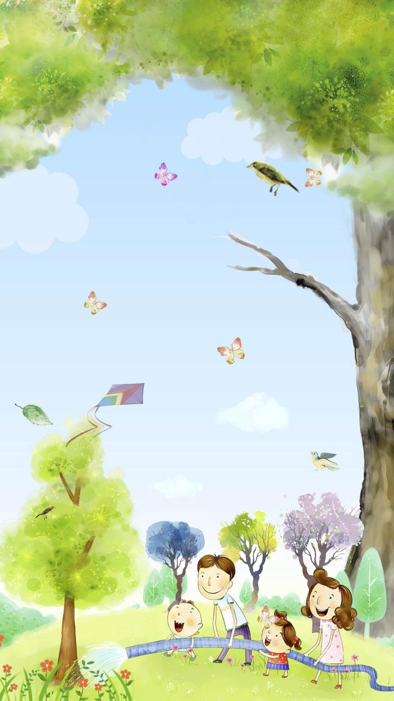 手绘卡通蓝天六一儿童节海报背景素材