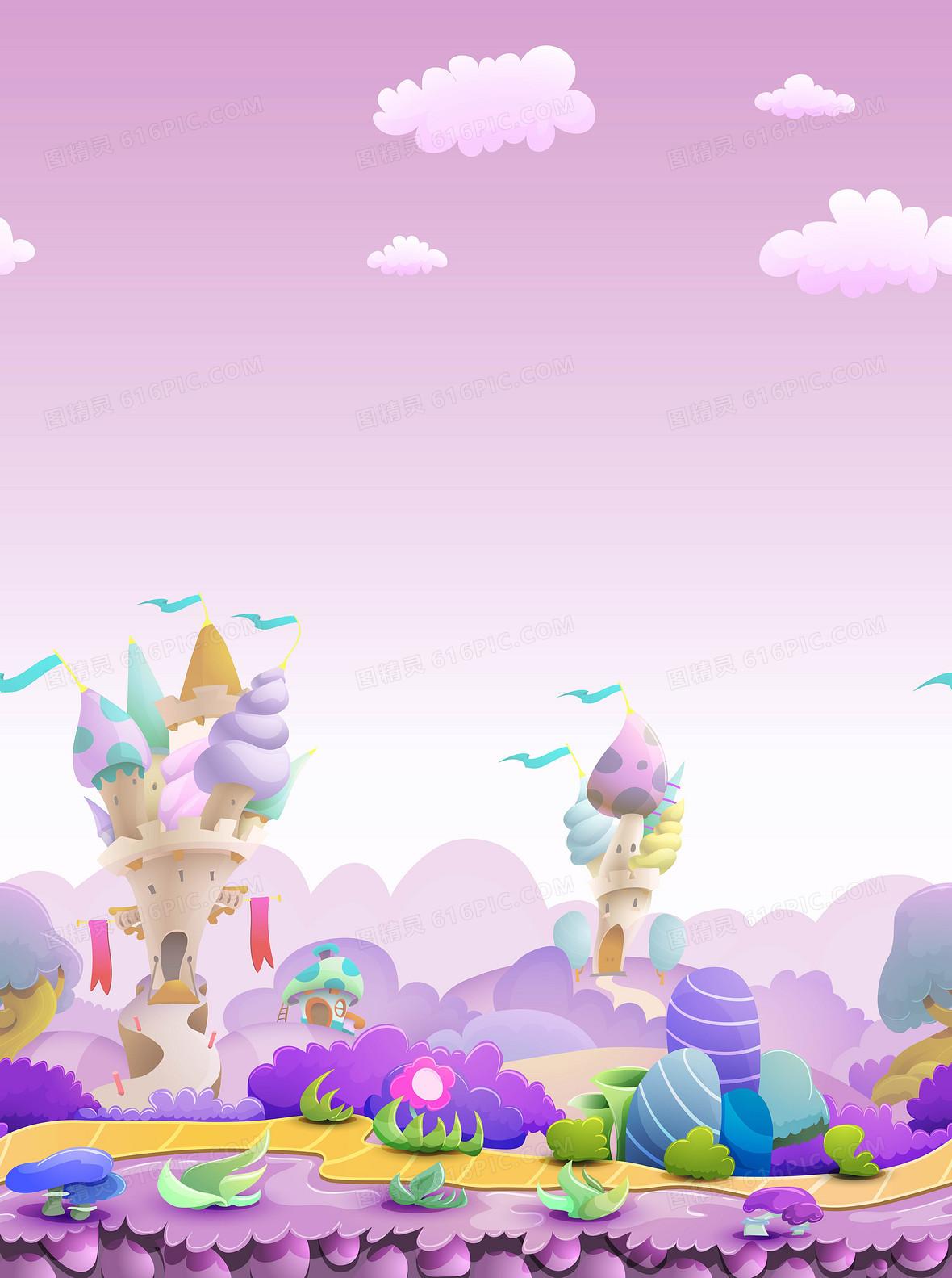矢量卡通儿童童话城堡背景图片