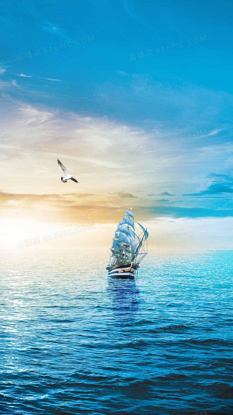蓝色湖面帆船海鸥风景h5背景