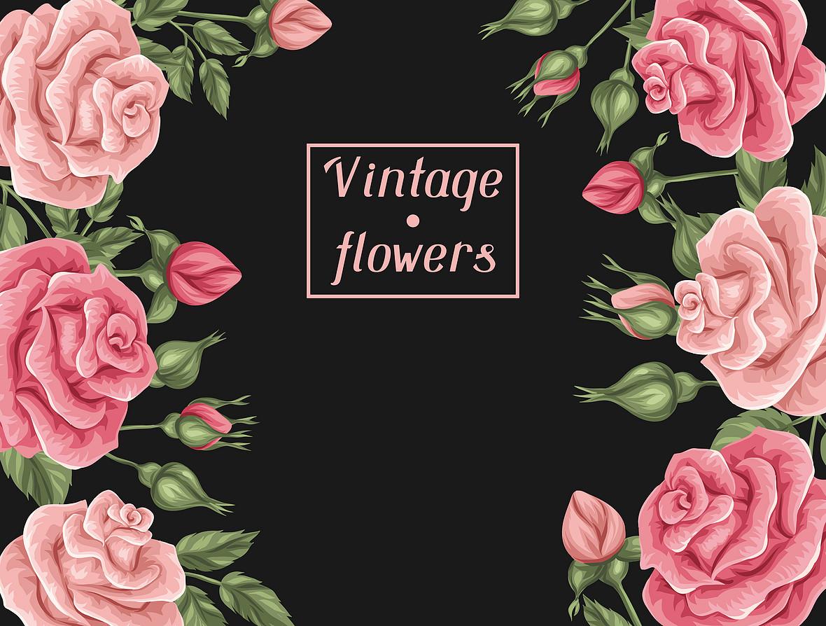 粉色玫瑰花边框矢量海报背景素材