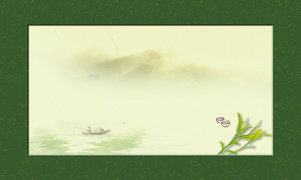 雾朦山峰背景茶叶包装背景素材