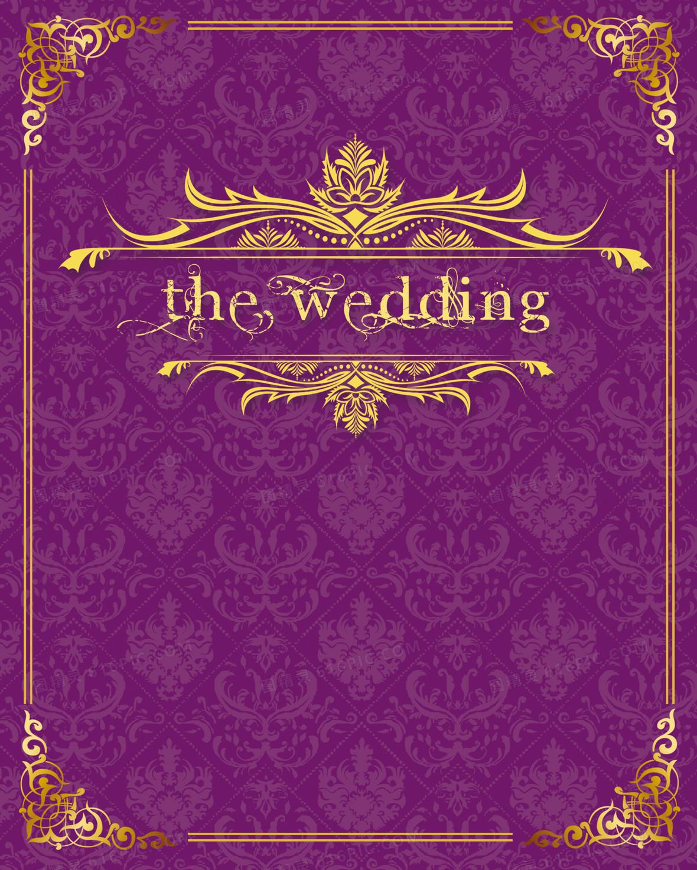 紫色欧式婚礼邀请函海报背景素材