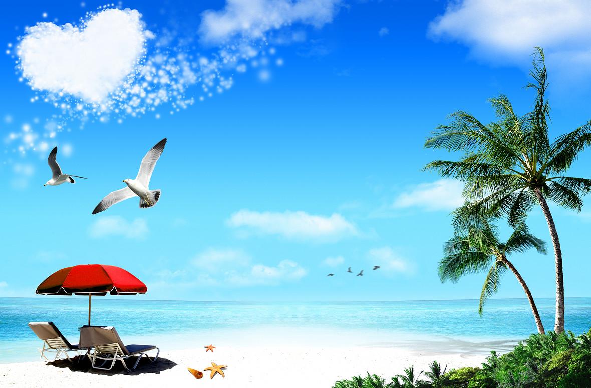 浪漫海滩大海风景海报背景素材