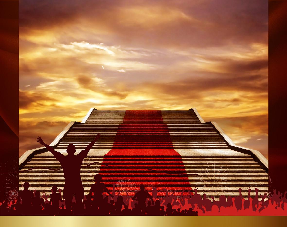 红色扁平化冲刺励志海报背景素材